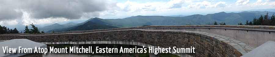 View of mountains from atop Mount MItchell, Eastern America's Highest Summit
